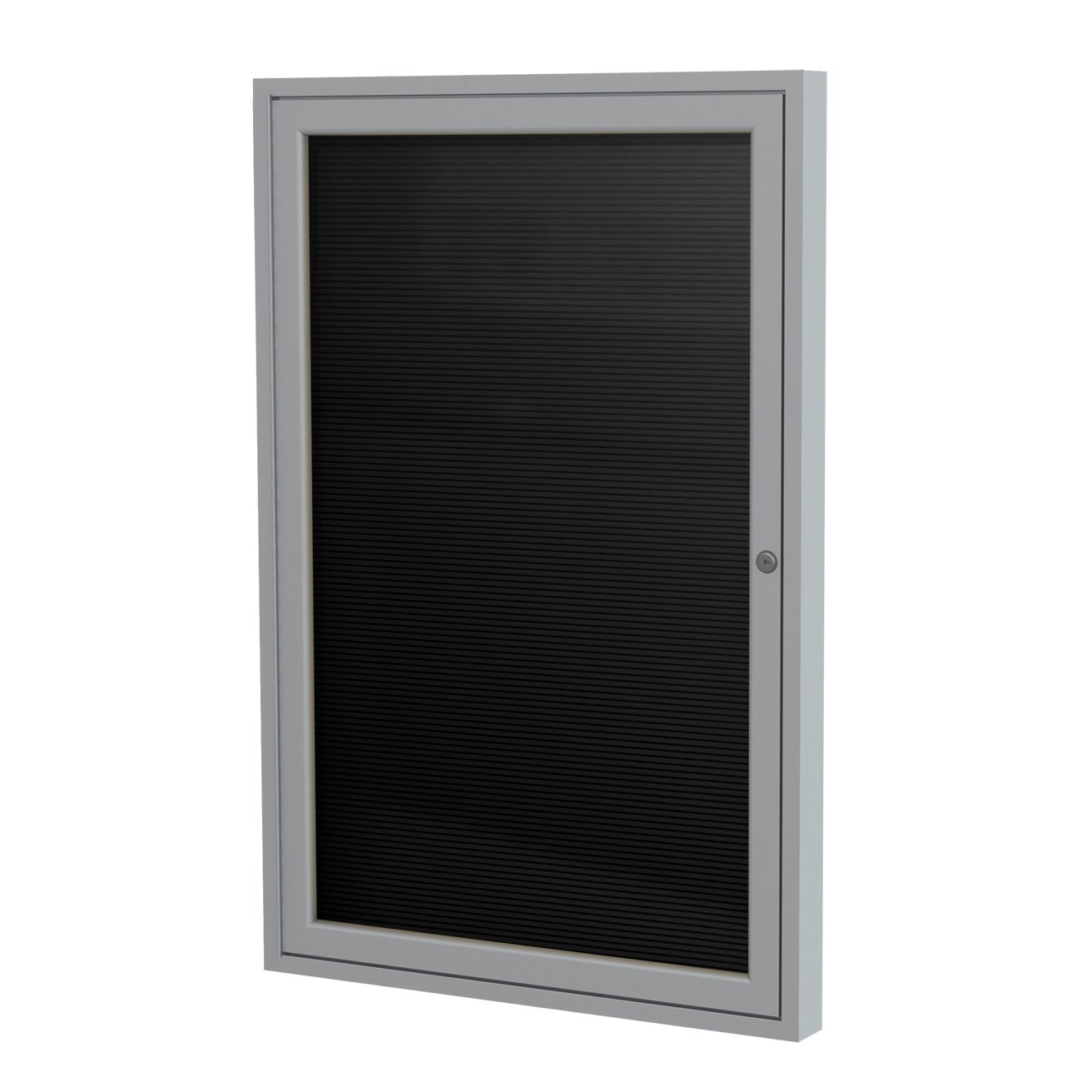 Ghent 36''x30'' 1-Door Satin Aluminum Frame Enclosed Flannel Letterboard - Black - Made in the USA by Ghent