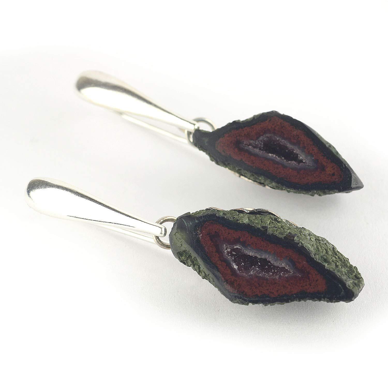 """Pendientes con geoda de ágata y plata de ley en color rojo oscuro 42 mm (1.65"""") de largo"""