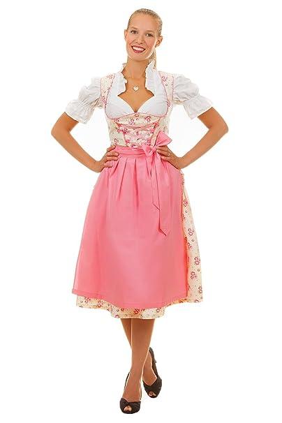 Mini vestido de tirolesa, 3 piezas, diseño de flores, color crema, rosa, con blusa y delantal a juego, talla 32-50 Rosa2 34 : Amazon.es: Ropa y accesorios