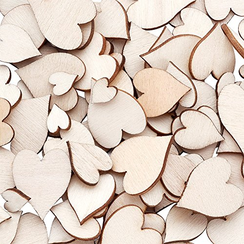 Beadthoven 100pcs Natural Unfinished Heart Wood Cabochons Mixed Size Heart Wood Beads Without Hole for Craft Making 8~18x6~15x2mm