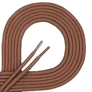 DI FICCHIANO Cordones redondos para calzado de negocios y de cuero, cordones versátiles, 3 mm de diámetro, longitud 60 - 130 cm, 25 colores, de poliéster, Unisex, Ginger, 60 cm