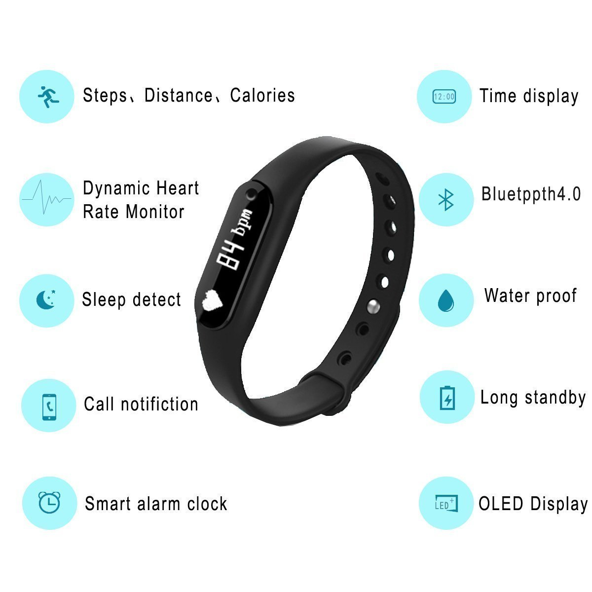 Mi3 Compatible Fitness Tracker Oled Screen Display Smart Wristband M2 Bluetooth Bracelet Mi Band 2 Look Heart Rate Monitor With Sleep Pedometer Calories Distance Calculator