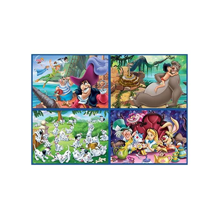 61SnZPFf6wL Multi 4 Puzzles Junior con diferente número de piezas (entre 50 y 150) para que niños y niñas se atrevan con distintos niveles de dificultad a medida que crecen y ganan práctica en el montaje Puzzles inspirados en Clásicos Disney: Aladdin, Jungle Book, Alicia, Peter Pan Compuestos por grandes piezas, óptimo acabadas para que sea sencilla y segura su manipulación por los niños