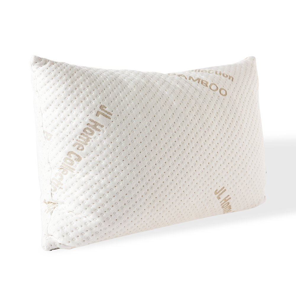 JL Home Collection Bed Sleeping,Adjustable Loft Shredded Original Memory Foam Pillow with Removable Washable Bamboo Cover - Queen, White