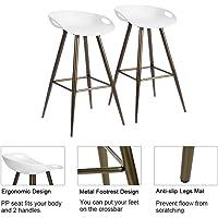 FurnitureR Conjunto de 2 taburetes de Bar Modernos contemporáneos sin Brazos de Altura Fija, Asiento de PP con Base de Metal Blanco y Bronce