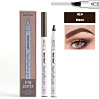 Waterproof Liquid Eyebrow Pencil with 4 Fork Tip, Music Flower Fine Sketch Liquid Eyebrow Tattoo Pen Smudge-proof and Durable (Brown)