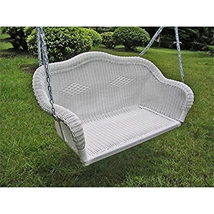 Captivating Pemberly Row Wicker Patio Swing In White