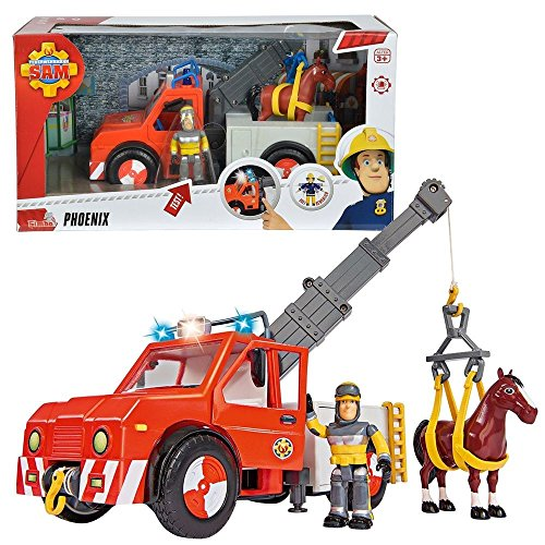 sam le pompier fireman sam v hicule animal rescue phoenix avec lumi re et cheval et sam la. Black Bedroom Furniture Sets. Home Design Ideas