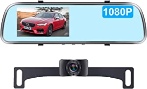 AMTIFO HD 1080P Backup Camera with 4.3'' Mirror Monitor for Cars,Minivans,SUVs,Trucks Licence Plate Rear View Hitch Camera,Easy Installation Rear/Front View Camera Adjustable - A1