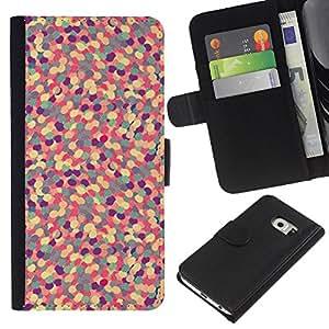 iBinBang / Flip Funda de Cuero Case Cover - Abstract Pattern Purple Floral Pill - Samsung Galaxy S6 EDGE SM-G925