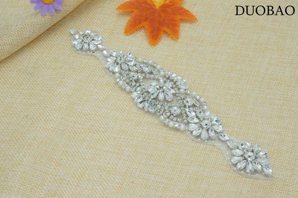 DUOBAO Rhinestone-Sash-Belt Wedding Sash Ivory Belt Rhinestone Applique Elegant Evening Dress for Women Crystal Applique for Clothes by DUOBAO