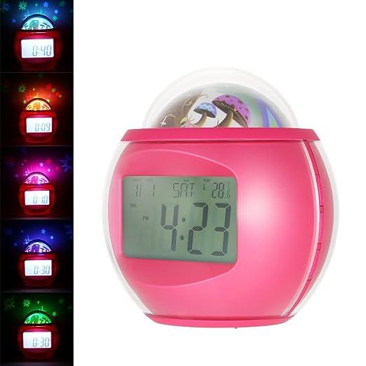 Anself Despertador Proyector de Estrellas Reloj Snooze Digital con ...
