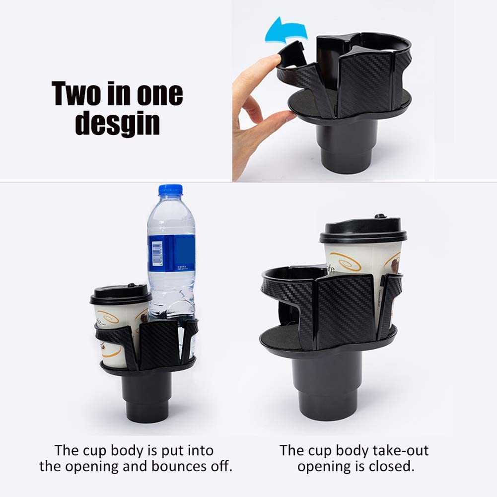 Ajboy 2 in 1 Soft Drink Can Coffee Bottle Stand Abnehmbarer Auto Becherhalter mit verstellbarem Boden 13.5*14cm Schwarz