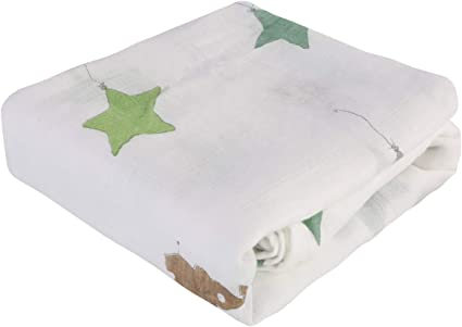 """Bamboo Cotton Blanket 47/""""x47/"""" Muslin Swaddle Blanket for Newborn Baby,..."""