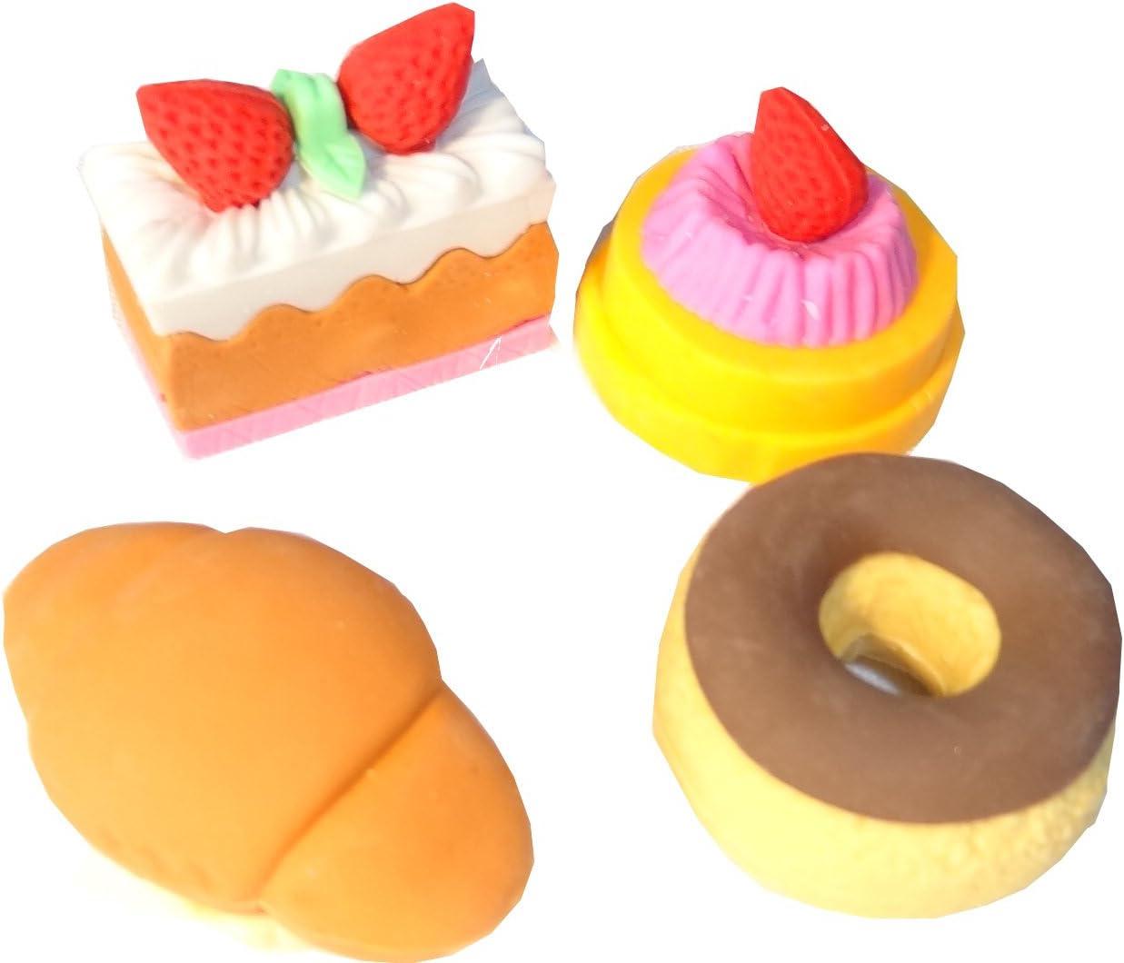 Set Goma de borrar infantiles 4 piezas Fresas, croissants & Donut – Caja de color rosa: Amazon.es: Oficina y papelería