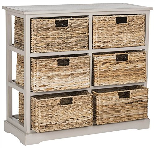 Safavieh AMH5740D American Homes Collection Keenan 6 Wicker Basket Storage Chest, Vintage Grey