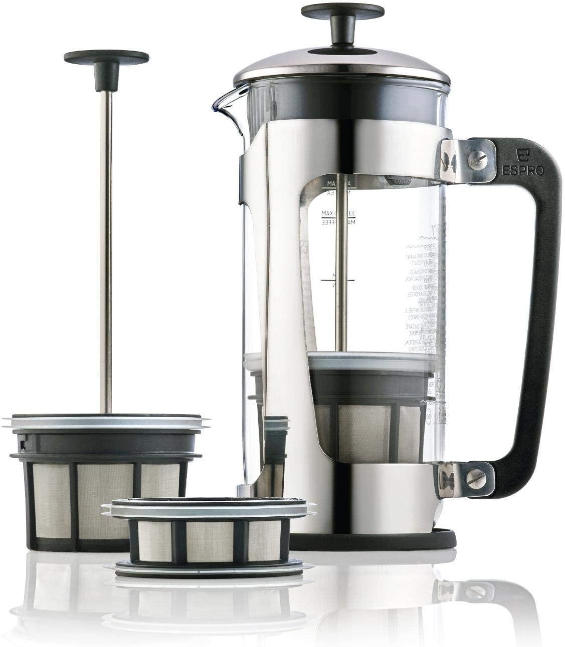 Espro Press P5 32oz French Press for Tea Glass Polished Stainless