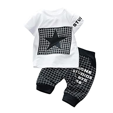 c8678b387880 Minisoya 2Pcs Infant Kids Baby Boys Girl Letters Star Printed Summer Tops T-Shirt  Plaid