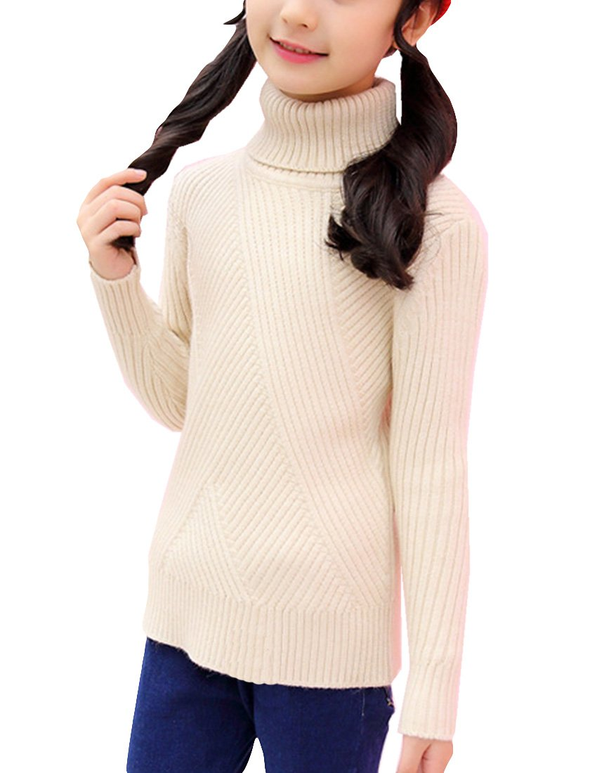 MFrannie Girls Turtleneck Thermal Fall Winter Knitting Pull On Sweater