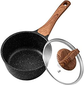 ESLITE LIFE Saucepan with Lid, 1.5 Quart Nonstick Sauce Pan, Small Soup Pot Milk Pan with Granite Stone Coating, Induction Compatible, PFOA-Free