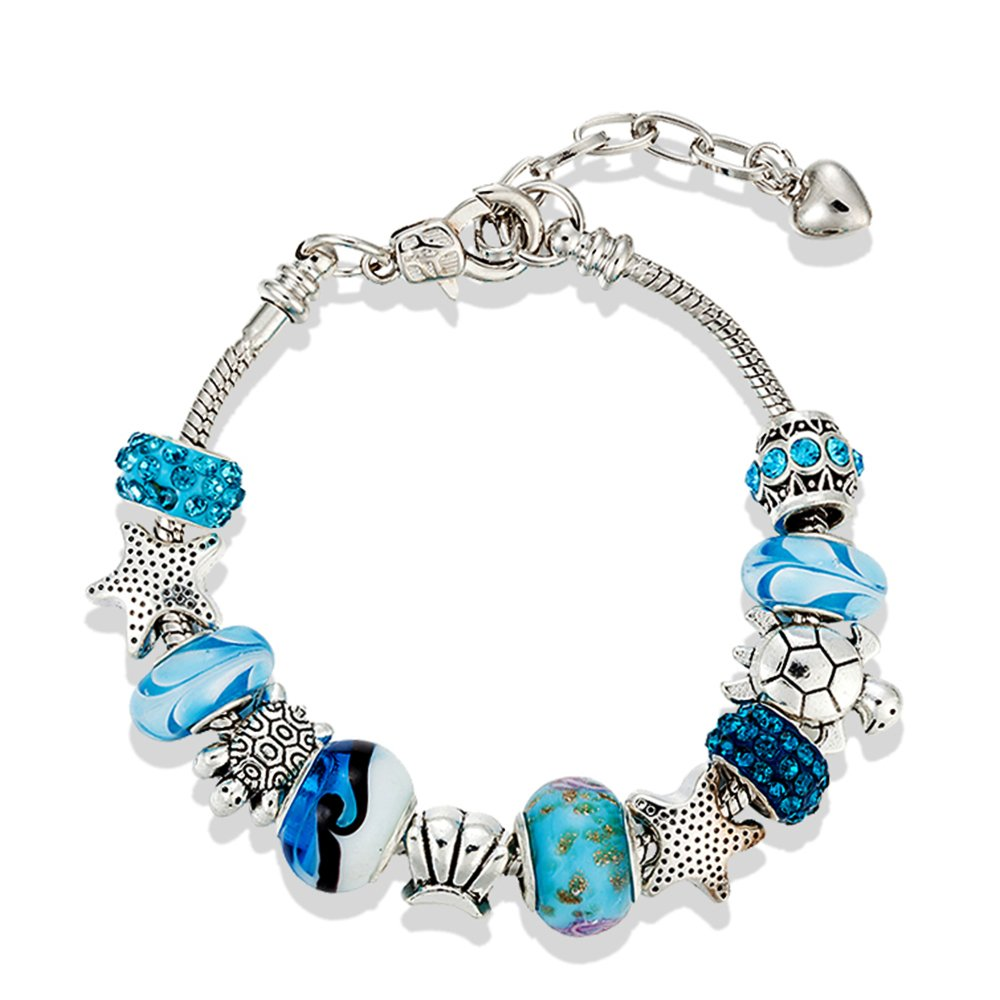 European Ocean Beach Charm Beaded Adjustable Chain Bracelet 7.5 Inch + 1.5'' for Women and Teen Girls Sea Starfish Turtle Shell Aquamarine Murano Glass Beads Prime Quality Gift 925 Silver Plated