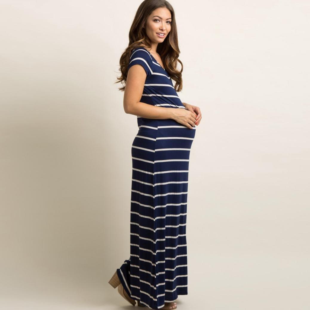 BBsmile camisa mujer Vestido maxi largo de la maternidad del embarazo de la moda maternal estriada cómoda de las mujeres: Amazon.es: Ropa y accesorios