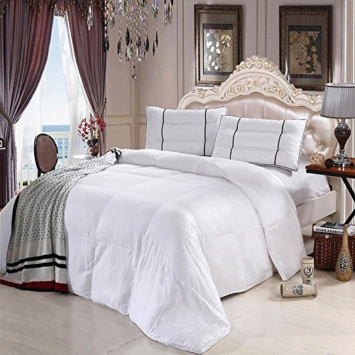 Comfortable Full sized tempurature regulated Bamboo Alternative down comforter; Silky soft Bamboo viscos encasement with a 300tc down proof weave; Clean crisp white color