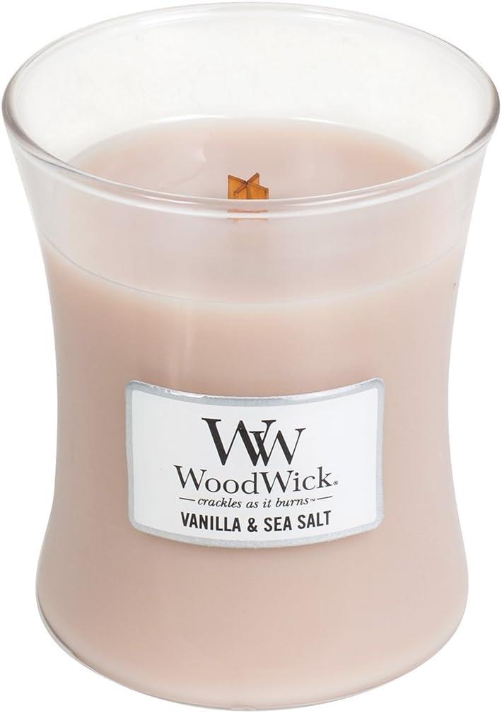WoodWick Vanilla & SEA Salt, Highly Scented Candle, Classic Hourglass Jar, Medium 4-inch, 9.7 oz