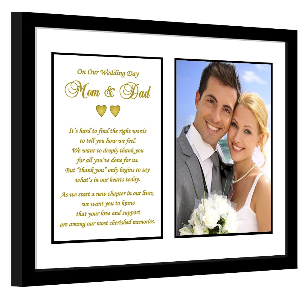 Parent Thank You Wedding Gift - Sweet Poem from Bride and Groom to Mom and Dad in 8x10 Inch Frame - Add 4x6 Inch Photo by Poetry Gifts