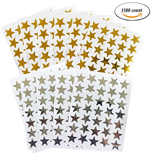 Kenkio 3500 Count Star Stickers Gol d SilverSelf-adhesive Stickers Stars