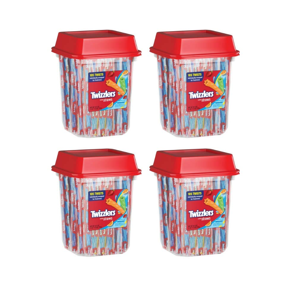 TWIZZLERS Licorice Candy, Rainbow Straws, 105 Count, 27.5 Ounce - Pack of 4 by Twizzlers