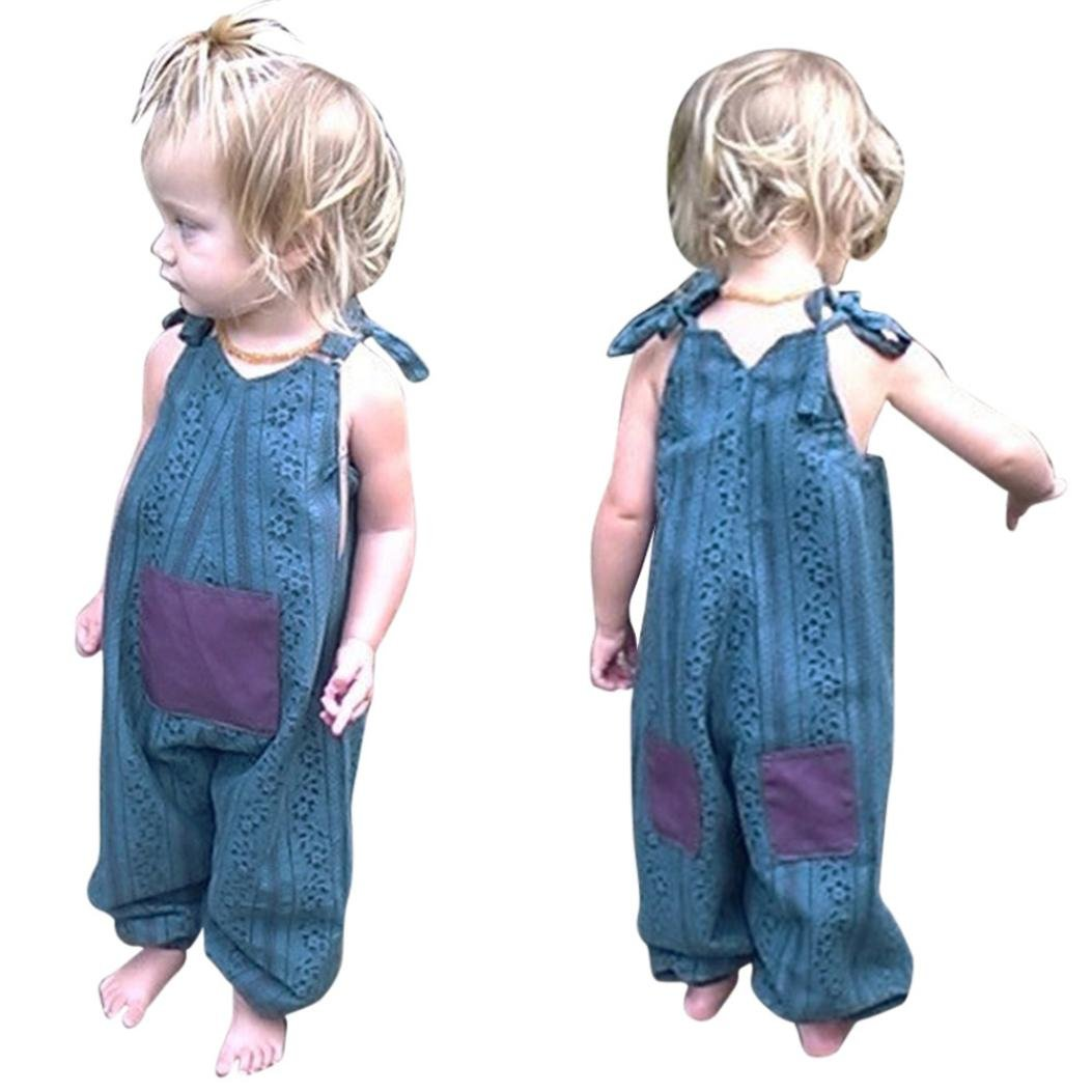 IGEMY Newborn Infant Baby Girls Strap Romper Jumpsuit Harem Pants Outfits Clothes