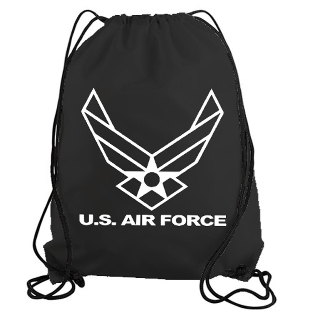 STICKERSLUG Black United States Air Force Symbol Drawstring Gym Bag nylon workout bag