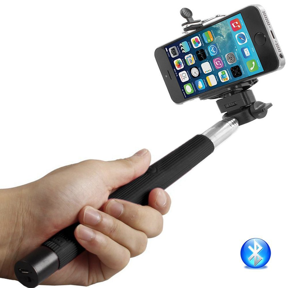 Bluetooth Control Grey MN-231549 BrainyGadgets 3362313 Extendable Monopod Selfie Stick Adjustable Phone Holder with Charging Cable