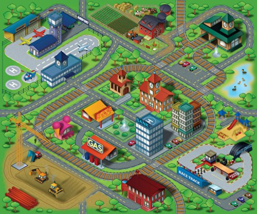 Airport Playmat - Silli Me Large Town Kids Car and Train Play Mat with Airport, Racetrack, Construction Zone, City and Farm