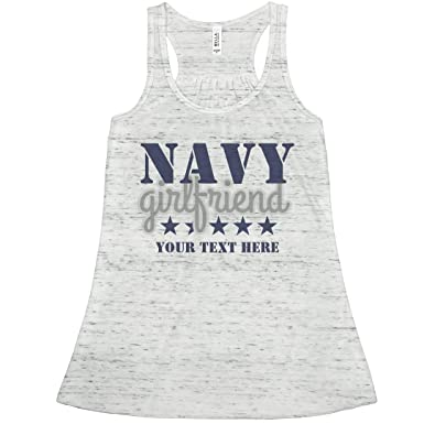 63810f01b164e Amazon.com  Navy Girlfriend Custom Flowy Tank  Bella Ladies Flowy Racerback  Tank  Clothing