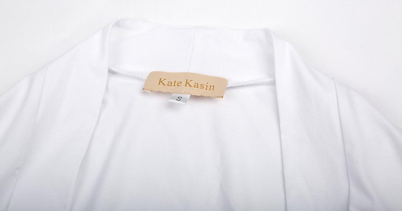 Kate Kasin-Giacca Corta in Cotone a Maniche Lunghe con Frontale Aperto da Donna Bolero Shrug