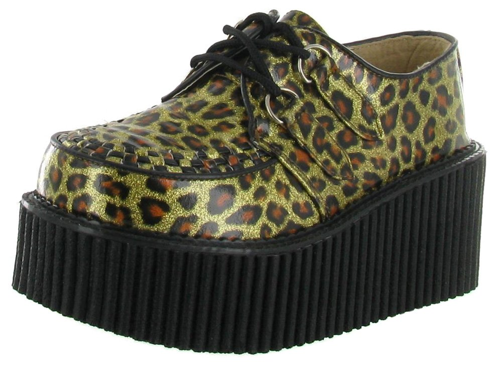 Demonia - Zapatos oxford mujer 37 EU Dorado Brillante