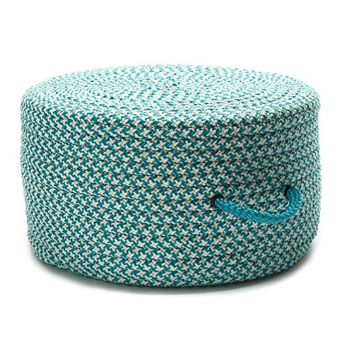Colonial Mills Braided Round pouf/ottoman 20''x20''x11'' in Turquoise Color From Houndstooth Pouf Collection by Colonial Mills