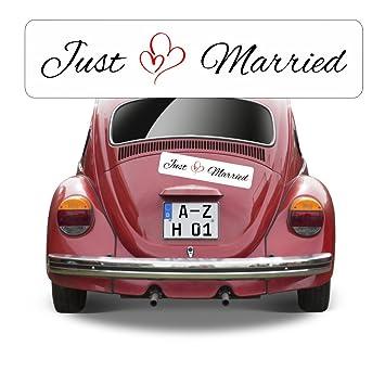 Magnetschild Hochzeit beschriftet mit Just Married AZ0556: Amazon.de ...