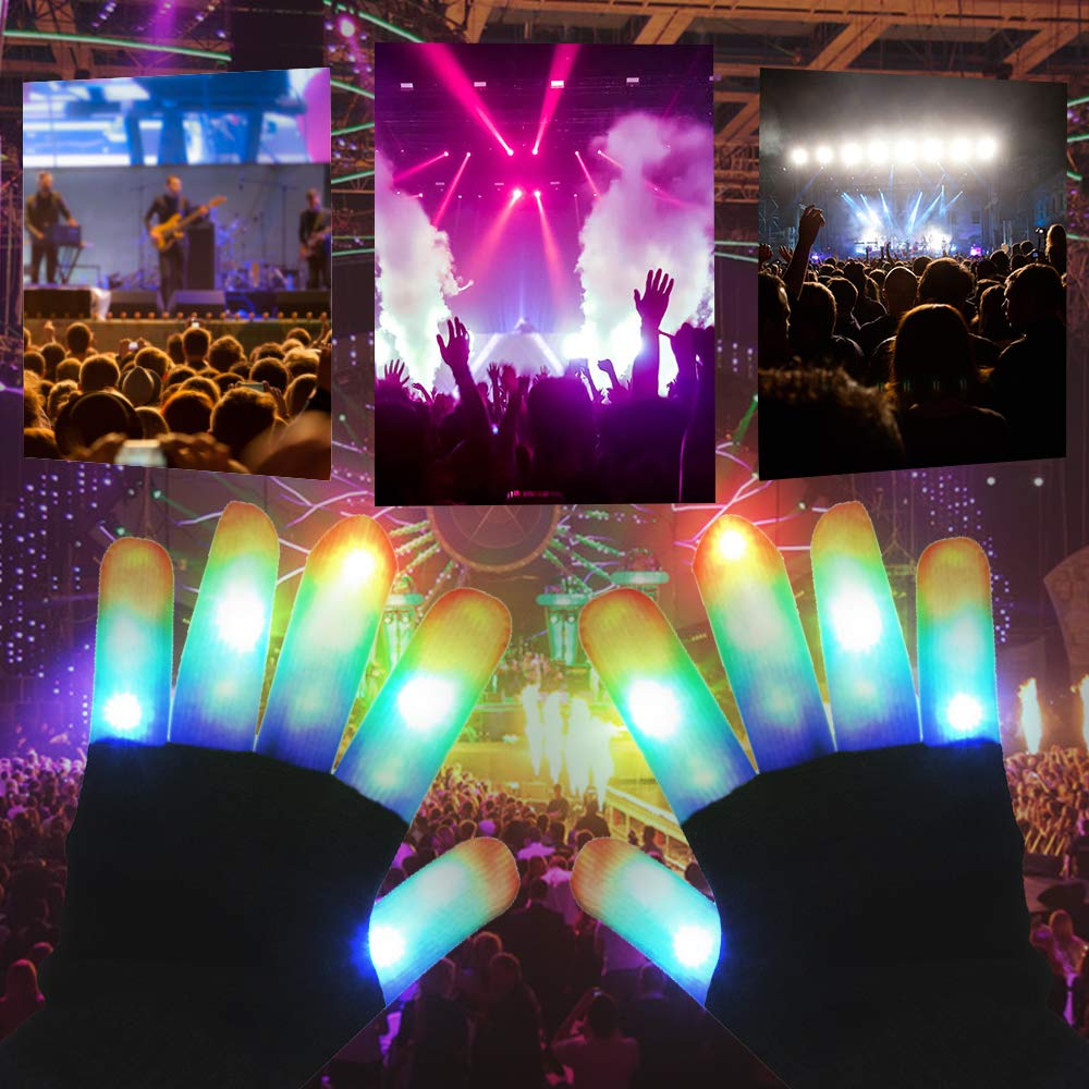 FuturePlusX LED Gloves, Christmas Light Up Gloves Flashing Finger Light Gay Pride Winter Gloves with Extra Battery