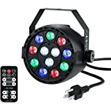 OPPSK LED Par Lights with 12led RGBW by IR Remote and DMX Control for Stage Lighting