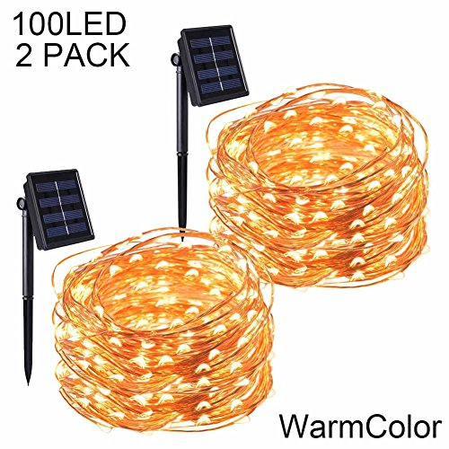 POPPAP Solar String Lights Copper Wire Fairy Twinkle Light W