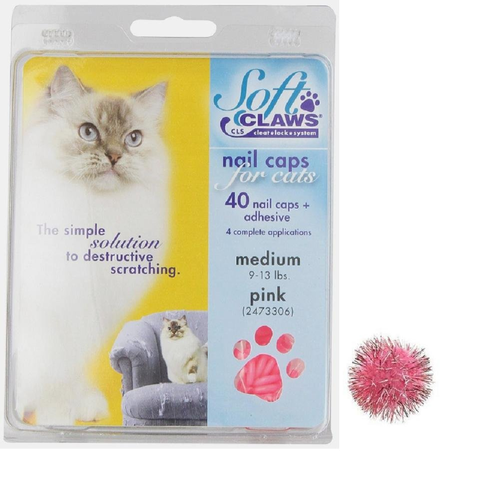 Soft Claws for Cats - CLS Size Medium, Color Pink and (1) One'' Sparkle Ball Cat Toy