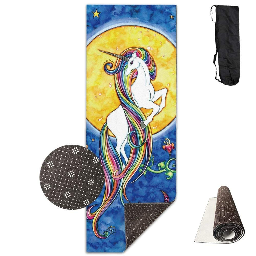 Unicorn with Rainbow Hair Yoga Mat Towel for Bikram Hot Yoga, Yoga and Pilates, Paddle Board Yoga, Sports, Exercise, Fitness Towel