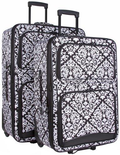 Ever Moda Black Damask 2 Piece Luggage Set (Black) by Ever Moda