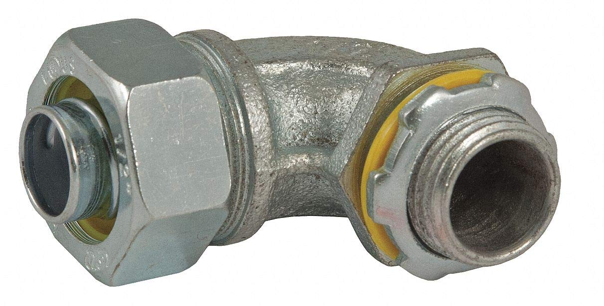 Malleable Iron/Steel Noninsulated Connector, Connector Type: 90°, Conduit Size: 3/8''