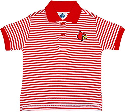 Cardinals T-shirt Red Football (University of Louisville Cardinals Striped Polo Shirt by Creative Knitwear, Red/White, 3T)