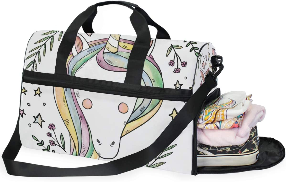 FANTAZIO Sweet Unicorn Sports Bag Packable Travel Duffle Bag Lightweight Water Resistant Tear Resistant