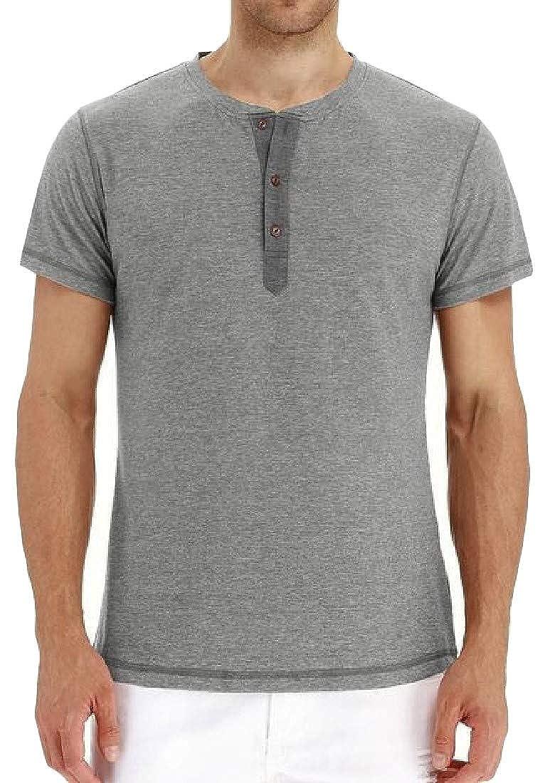 Etecredpow Mens Short Sleeve Comfort Button Pullover Henley Top Tee T-Shirts
